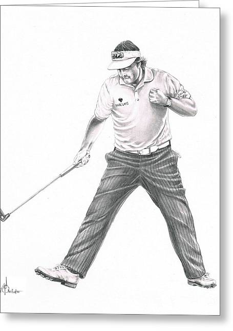 Graphite Greeting Cards - Phil Mickelson Greeting Card by Murphy Elliott