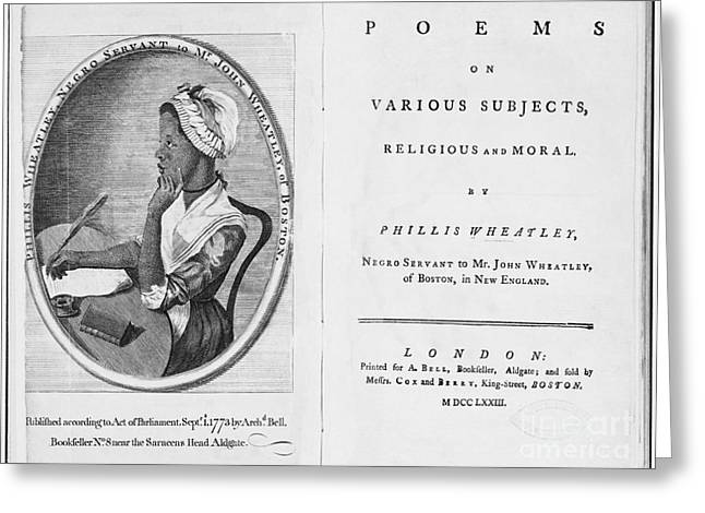 Slaves Greeting Cards - Phillis Wheatley, African-american Poet Greeting Card by Photo Researchers
