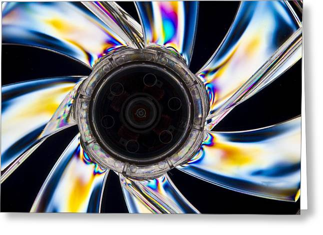 Interference Greeting Cards - Photoelastic Stress Of A Cooling Fan Greeting Card by Pasieka