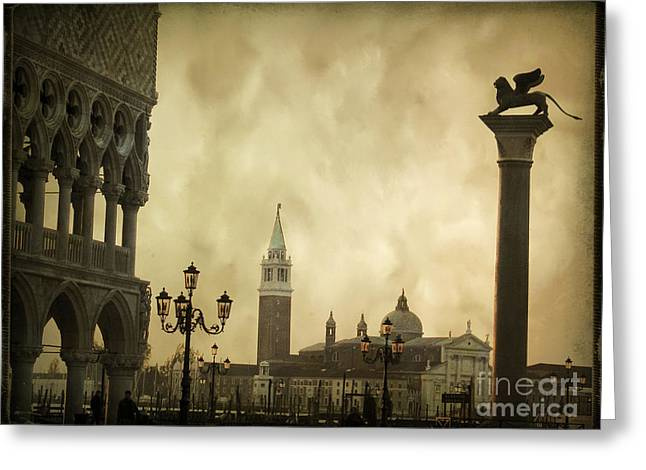 Italian Sunset Greeting Cards - Piazetta. VENICE Greeting Card by Bernard Jaubert