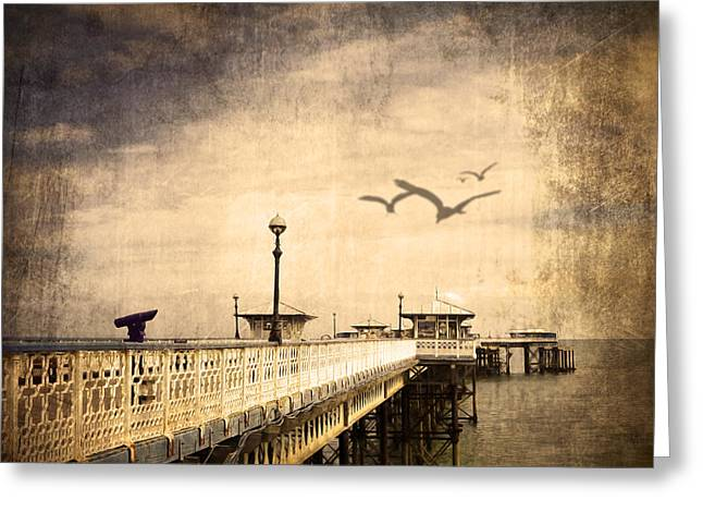 Relaxing Mixed Media Greeting Cards - Pier Greeting Card by Svetlana Sewell