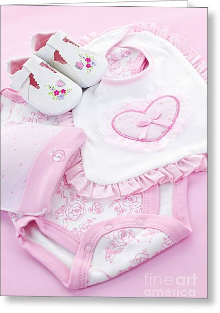 Tiny Photographs Greeting Cards - Pink baby clothes for infant girl Greeting Card by Elena Elisseeva