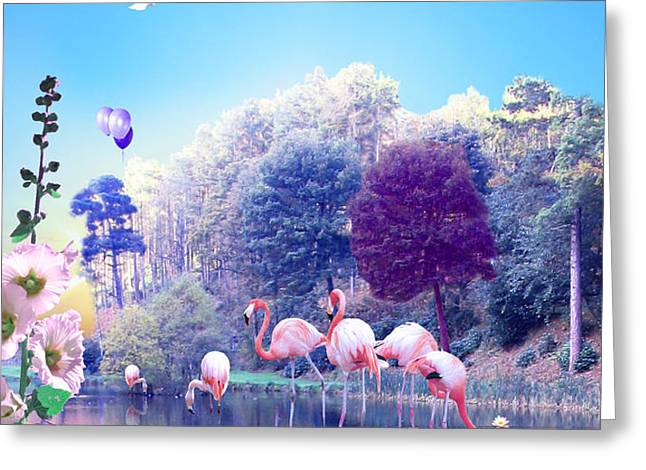 pink Flamingoes Greeting Card by Emily Campbell