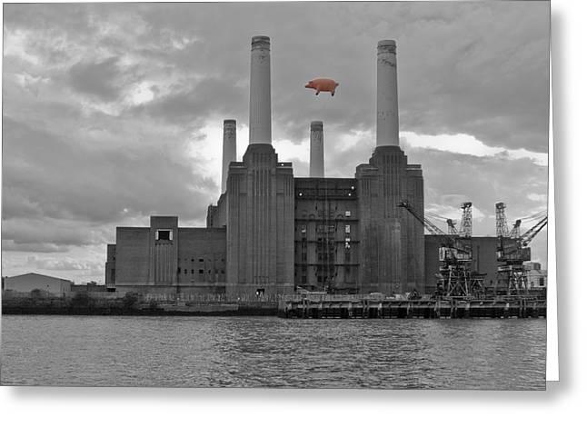 Pink Floyd Pig At Battersea Greeting Card by Dawn OConnor