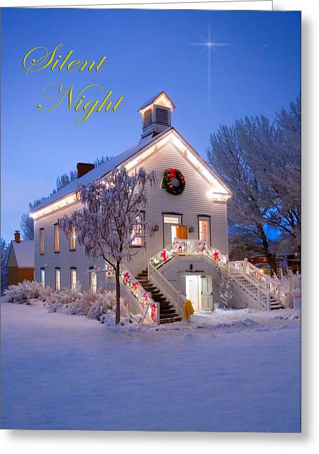 Snowy Night Night Greeting Cards - Pioneer Church at Christmas Time Greeting Card by Utah Images