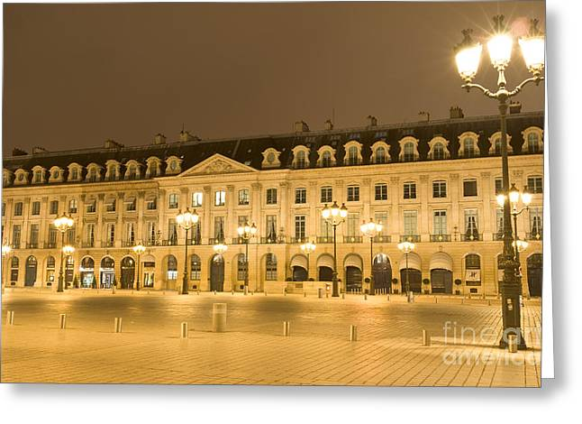Dwell Greeting Cards - Place Vendome by night Greeting Card by Fabrizio Ruggeri