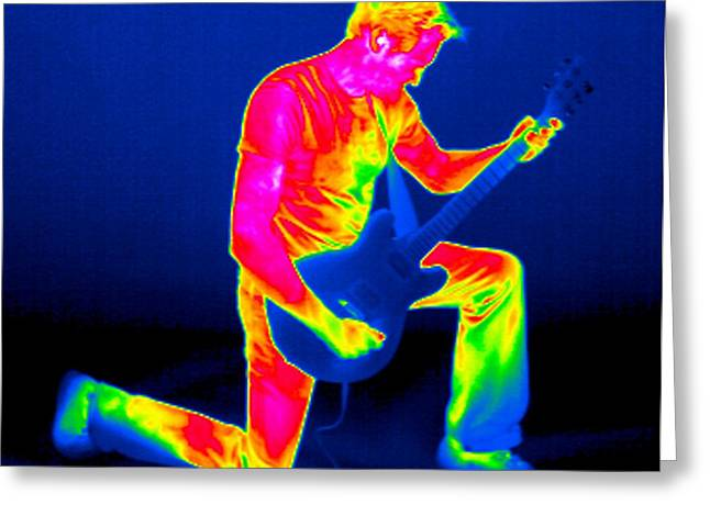 Temperature Greeting Cards - Playing Guitar, Thermogram Greeting Card by Tony Mcconnell