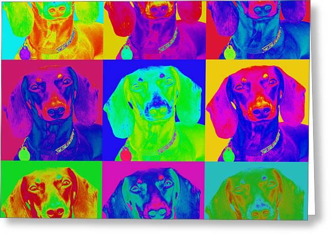Dachshund Digital Greeting Cards - Pop Art Dachshund Greeting Card by Renae Laughner