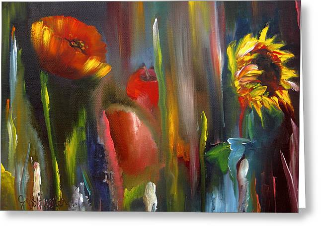 Botanical Mixed Media Greeting Cards - Poppy and sunflower Greeting Card by Jeff Hunter