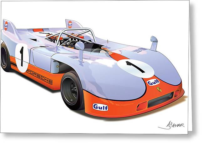 Alm Greeting Cards - porsche 908 GULF Greeting Card by Alain Jamar