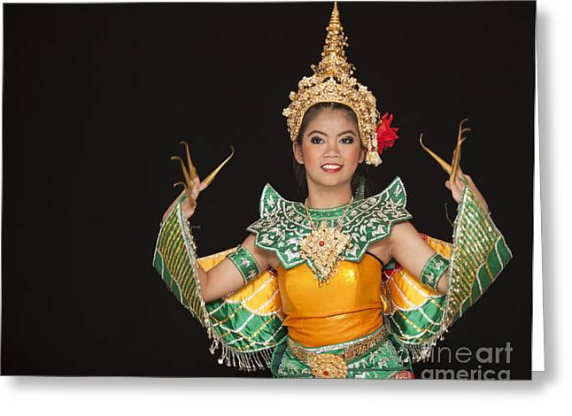 Royal Art Greeting Cards - Portrait of Thai young lady in an ancient Thailand dance Greeting Card by Anek Suwannaphoom
