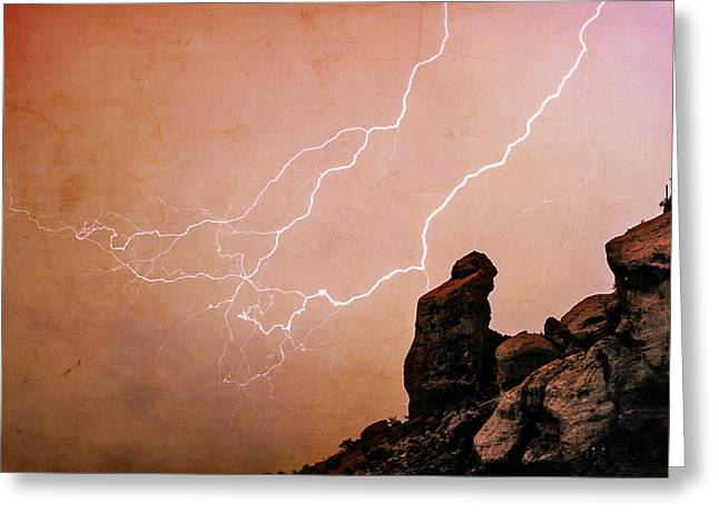 Arizona Posters Greeting Cards - Praying Monk Camelback Mountain Lightning Monsoon Storm Image TX Greeting Card by James BO  Insogna