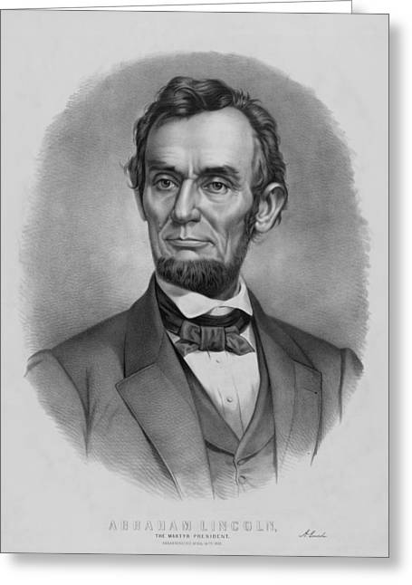 American Civil War Drawings Greeting Cards - President Lincoln Greeting Card by War Is Hell Store