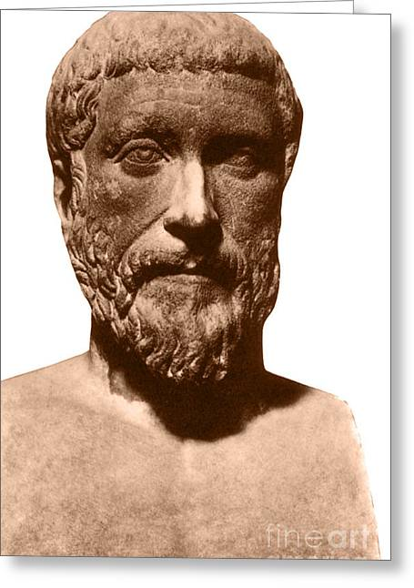 Greek Sculpture Greeting Cards - Pythagoras, Greek Mathematician Greeting Card by Photo Researchers