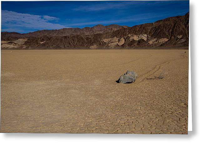 Desperate Greeting Cards - Racetrack in Death Valley National Park Greeting Card by Jean Noren