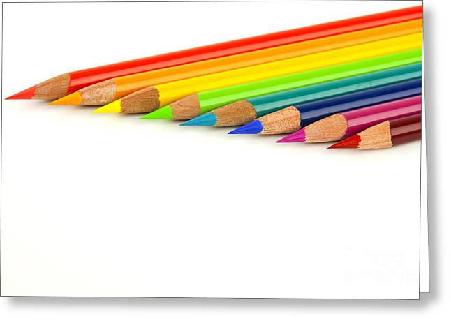 Educate Greeting Cards - Rainbow colored pencils Greeting Card by Blink Images