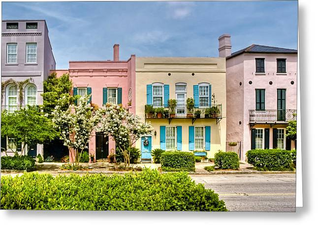 Charleston Greeting Cards - Rainbow Row Greeting Card by Drew Castelhano