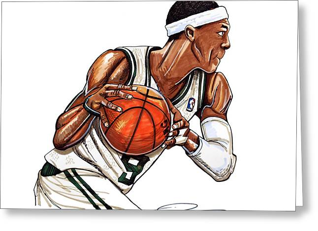 Boston Celtics Drawings Greeting Cards - Rajon Rondo Greeting Card by Dave Olsen