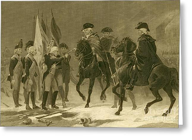 Battle Of Trenton Greeting Cards - Rall Surrenders, Battle Of Trenton, 1776 Greeting Card by Photo Researchers