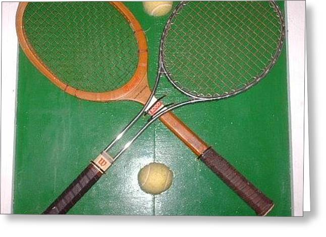 Sports Reliefs Greeting Cards - 2 Raquets Plus 2 Balls Equals 4 Art Greeting Card by Daniel Rollins