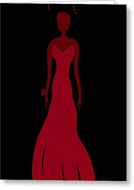 Fashion Week Greeting Cards - Red Dress Greeting Card by Frank Tschakert