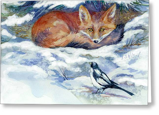 Magpies. Snow Greeting Cards - Red Fox with Magpie Greeting Card by Peggy Wilson