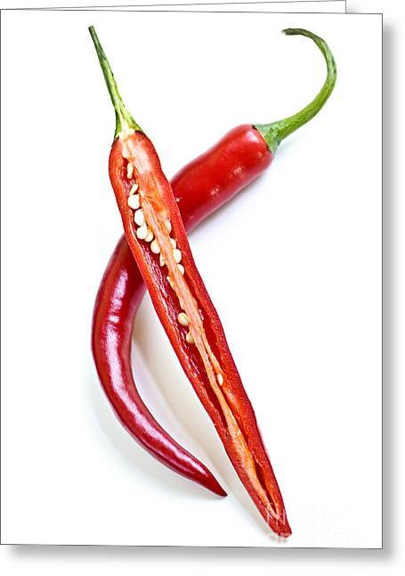 Chili Greeting Cards - Red hot chili peppers Greeting Card by Elena Elisseeva