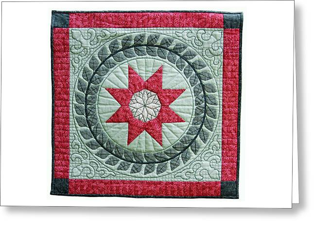 King Tapestries - Textiles Greeting Cards - Red Star Greeting Card by Deborah King