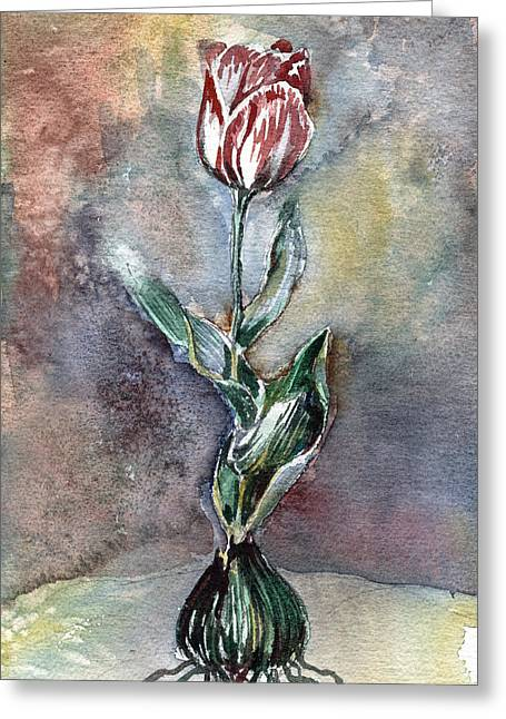 Easter Flowers Drawings Greeting Cards - Red Tulip Greeting Card by Mindy Newman
