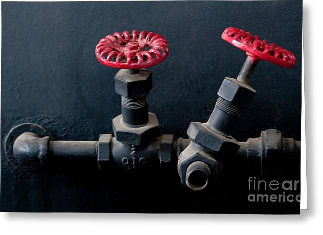 Industrial Greeting Cards - 2 Red Valves Greeting Card by Dan Holm