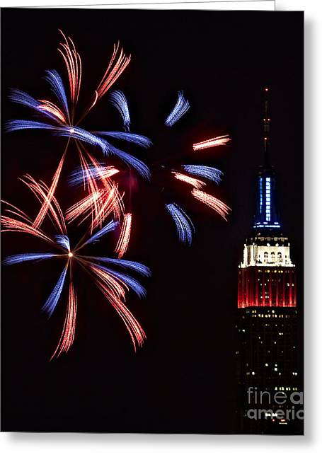 4th July Photographs Greeting Cards - Red White and Blue Greeting Card by Susan Candelario