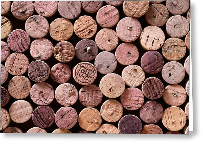 Wine Deco Art Photographs Greeting Cards - Red Wine Corks Greeting Card by Frank Tschakert