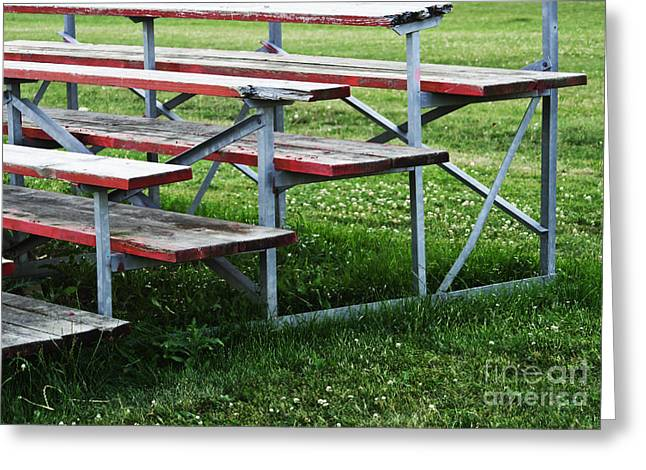 Empty Bench Greeting Cards - Red Wooden Bench Greeting Card by Blink Images