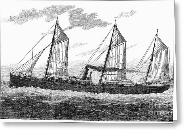 1876 Greeting Cards - Refrigerated Ship, 1876 Greeting Card by Granger