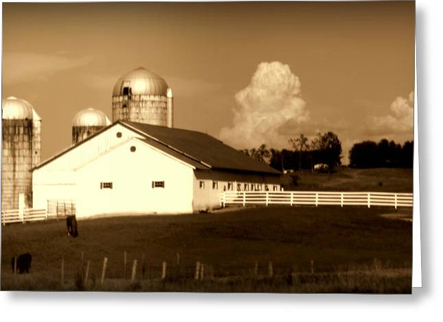 Red Roofed Barn Greeting Cards - Remember When Greeting Card by Karen Wiles