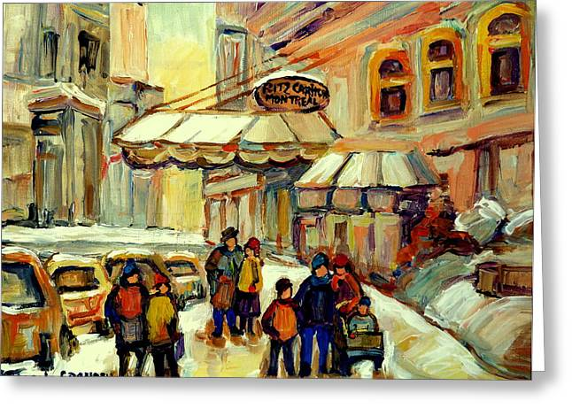 Snow Fun Hockey Ice Winter People City Cityscape Abstract Texture Expressionism Cement Landscape Greeting Cards - Ritz Carlton Montreal Streetscene Greeting Card by Carole Spandau