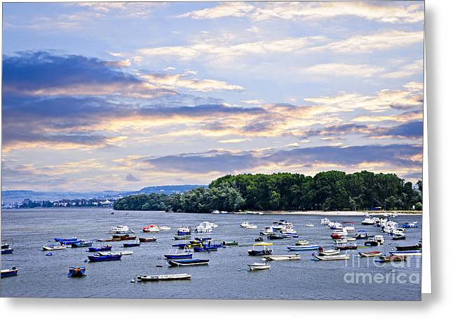 Dinghy Greeting Cards - River boats on Danube Greeting Card by Elena Elisseeva