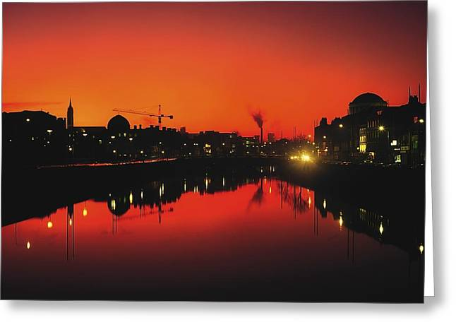 Reflections Of Sky In Water Greeting Cards - River Liffey, Dublin, Co Dublin, Ireland Greeting Card by The Irish Image Collection