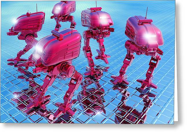 Automated Greeting Cards - Robot Army Greeting Card by Victor Habbick Visions