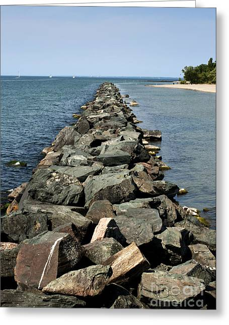 Sand Pattern Greeting Cards - Rock pier on lake Greeting Card by Blink Images