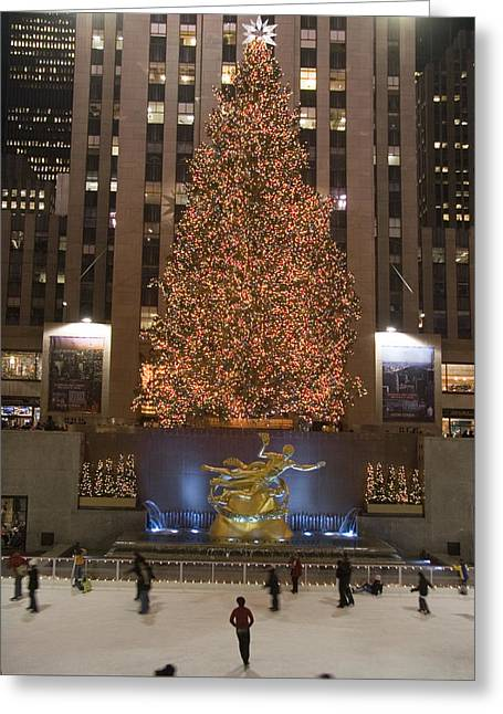 Exterior Views Greeting Cards - Rockefeller Center And The Famous Greeting Card by Taylor S. Kennedy