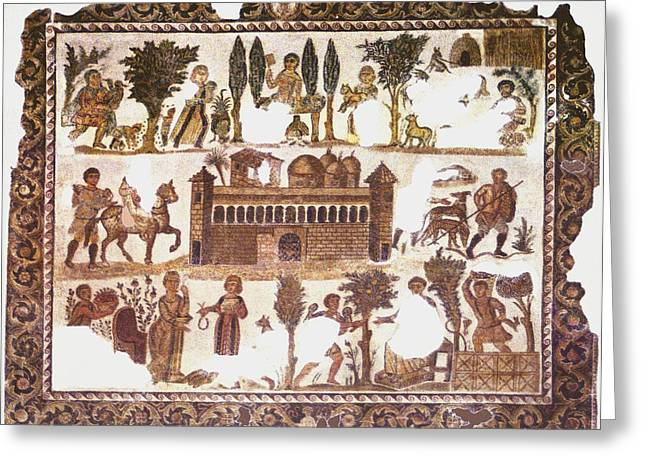 Roman Citizen Greeting Cards - Roman Mosaic Greeting Card by Sheila Terry