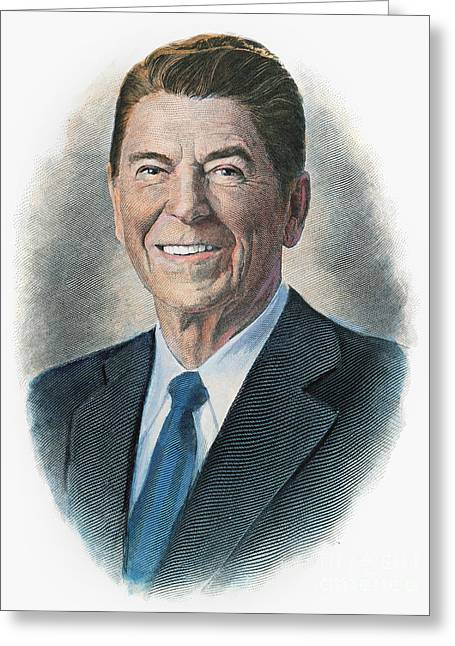 1980s Portraits Greeting Cards - Ronald Reagan (1911-2004) Greeting Card by Granger