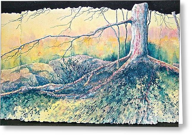 Tree Roots Paintings Greeting Cards - Rooted in Time Greeting Card by Carolyn Rosenberger