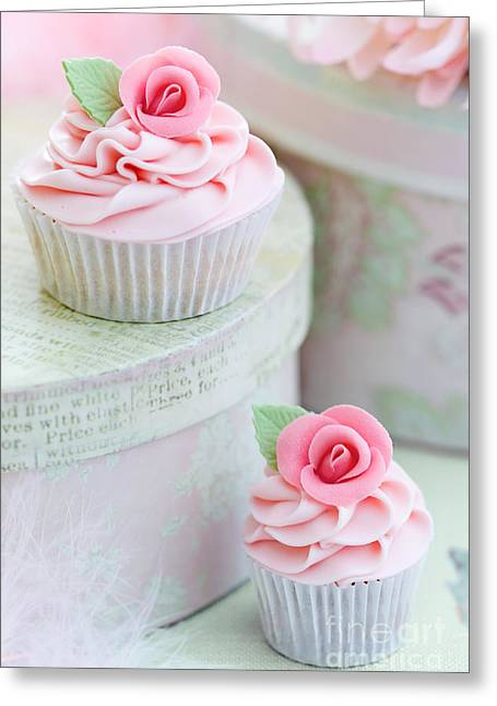 Hat Box Greeting Cards - Rose cupcakes Greeting Card by Ruth Black