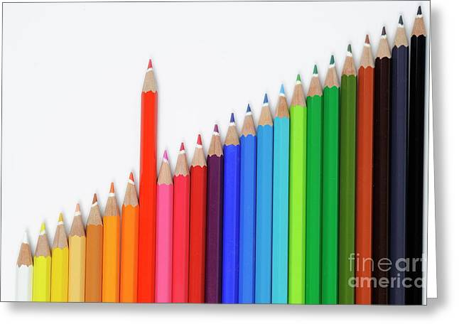 Standing Out From The Crowd Greeting Cards - Row of colorful crayons Greeting Card by Sami Sarkis