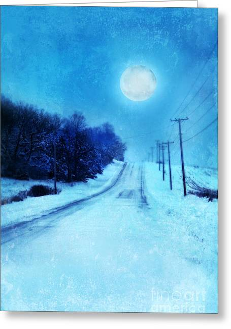 Snowy Night Night Greeting Cards - Rural Road in Winter Greeting Card by Jill Battaglia