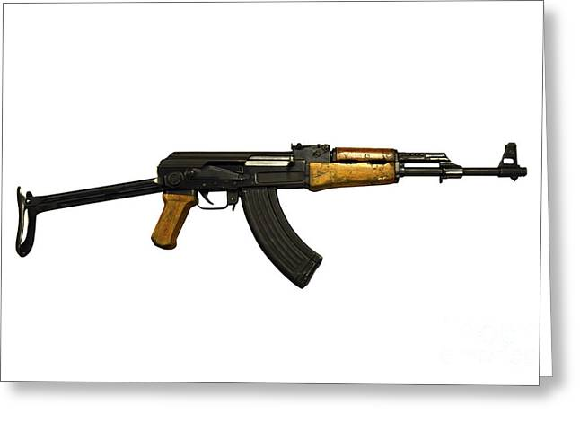 7.62mm Greeting Cards - Russian Ak-47 Assault Rifle Greeting Card by Andrew Chittock