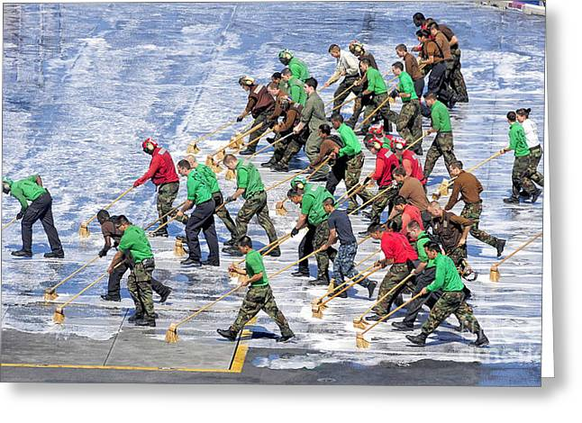 Scrubbing Greeting Cards - Sailors Perform A Flight Deck Wash Greeting Card by Stocktrek Images