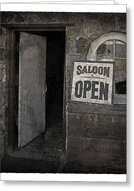 Saloons Greeting Cards - Saloon Open Poster Greeting Card by John Stephens